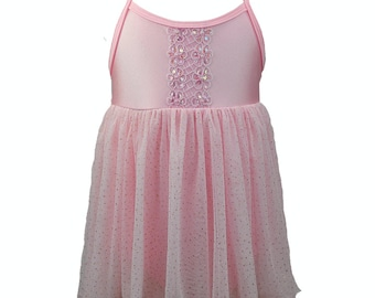 Pink Tulle Tutu Dress Spaghetti Strap with Flower Sequin Embellishment Dance