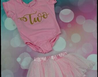 Girl Birthday Cursive Custom Leotard with Glitter Skirt