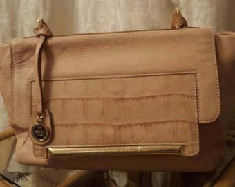 Escada blush calfskin leather handbag. Medium size.