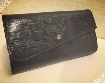 Vintage Black Snakeskin Coblentz Clutch