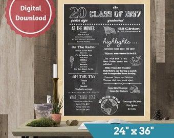 """20th Class Reunion Chalkboard Sign, Class of 1997, High School Reunion, College Reunion, 24""""x36"""", Chalkboard Poster"""