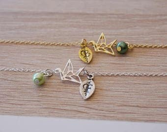 Necklace bird origami, gold plated 18 k, silver plated, necklace design trend