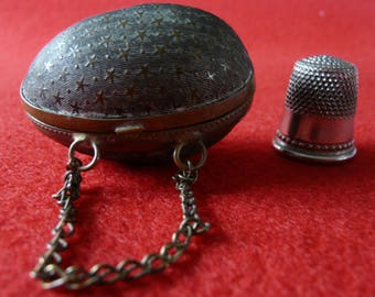 Antique 1880 Victorian Chantelaine Egg Brass Thimble Holder
