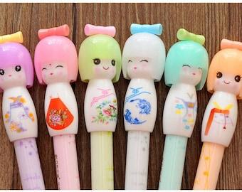 4 Piece Set ~ Kawaii Kimono Japanese Girl Gel Pens ~ Kawaii Pens, Writing Tool, Office Pens, Cute Pen, Geisha Pens, Japanese Pens