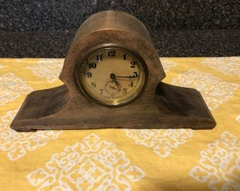 Vintage Wood Wind Up Desk Clock
