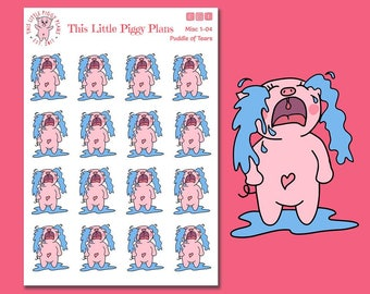 Puddle of Tears Oinkers - Bad Day Planner Stickers - Emotion Stickers - Sad - Crying - Upset - Devastated - Pig Stickers - [Misc 1-04]
