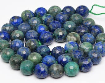 """6MM Faceted Azurite Natural Gemstone Full Strand Round Loose Beads 15"""" (101180-335)"""