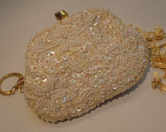 Vintage 1960's Floral Beaded Sequined Coin Purse Key Chain Gold
