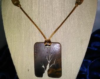Walnut Burl Tree Necklace - Wooden Jewelry