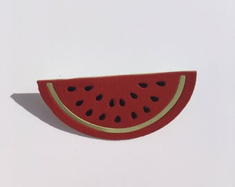 Leather, colorful watermelon brooch, leather