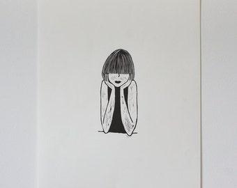 Lino Print: Fringe Girl
