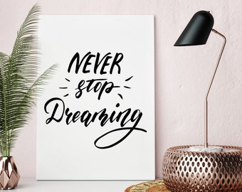 Actual Print. Wall Art Print. NEVER STOP DREAMING.