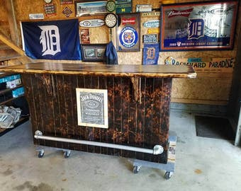 Rustic Jack Daniels Home Bar, home bar, home decor, gifts for men, liquor, wood, Father's Day, man cave