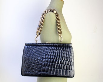 Vintage Black Exotic Leather Handbag