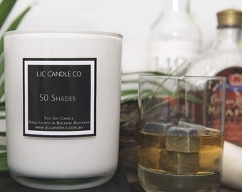 Medium 50 SHADES Soy Candle. 60 Hour burn time. Hand-poured.