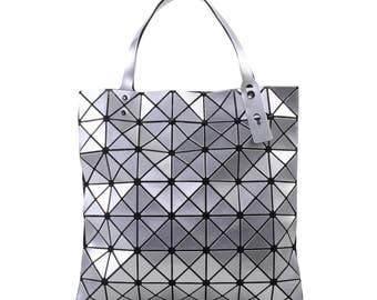 Geometric bag, handles bag, geometric handbag, tote bags, grey bag, grey handbag, casual handbag, grey handle bag