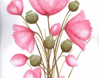 original watercolour poppy painting A4