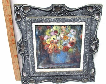vintage still life painting wood frame flowers floral signed 17x17