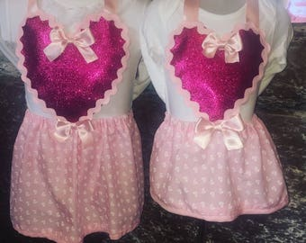 Glitter Heart Pinafore Dress