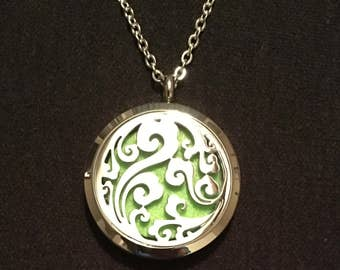 Ocean Swirl Oil Diffuser/ Aromatherapy Locket Necklace - FREE FAST SHIPPING