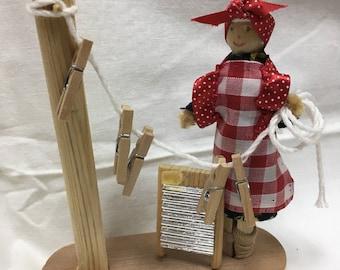 Peg doll wash day ornament, peg doll, handmade peg doll