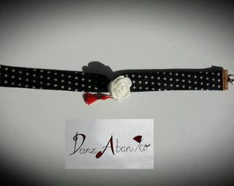 Black fabric flamenco pea white metal bracelet copper small red pompon and white flower