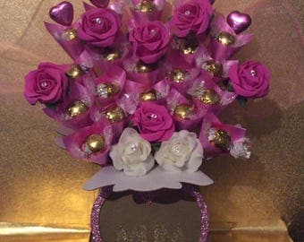 White Lindt Lindor, Diamanté Roses & Pink Heart Chocolate Bouquet