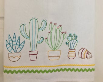 Embroidered cactus kitchen towel