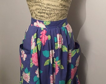 Vintage 1980s Purple Floral Cotton Skirt, Size 12 - Made in U.K. by Next