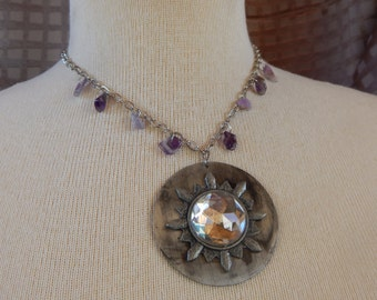 Silver disk with round crystal pendant necklace with amethyst chips