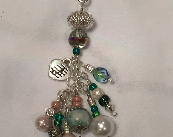 Beaded purse charm or key chain in green and pink