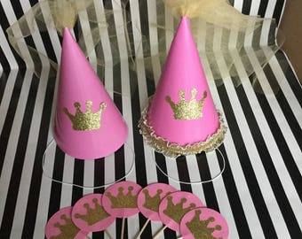 Princess Birthday Hats and Cupcake Toppers