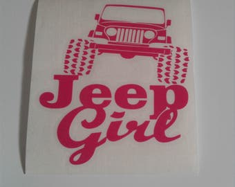 jeep girl pink decal
