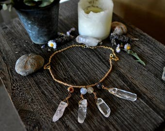 Quartz and Moonstone Necklace// Crystal Necklace// Gemstone Necklace// Witchcraft Jewelry// Wicca// Magick