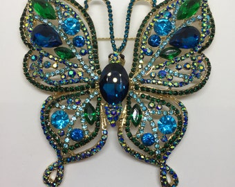 Vintage Style Butterfly Insect Gold-plated Brooch Blue Rhinestone Crystal Woman Pin