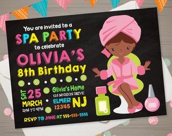 SPA PARTY Invitation SPA Party Birthday Invitation African American Girl Spa Party Invite Spa Birthday Spa Invitation Chalkboard Invitation