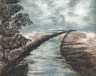 LIMITED EDITION UNFRAMED etching; Path (Mixed colour)