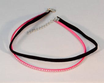 Choker Necklace Double Black Pink with Studs