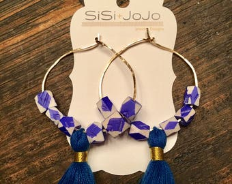 Gold Hoops with Royal Blue Tassels/Beads