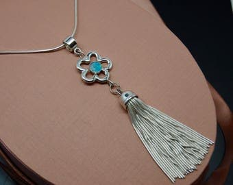 Sterling Silver Tassel and Opal Necklace . Opal pendant . Snake chain Tassel Necklace