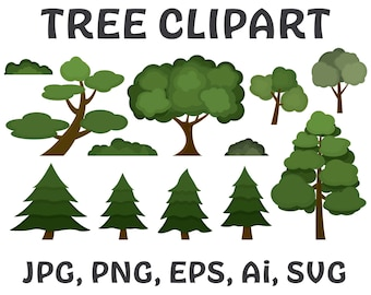 Tree Clipart Image Set, Instant Download,  High Res JPG, PNG and Vector formats