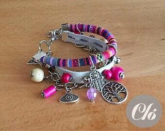 Bracelet boho, hippie in leather, cotton string.