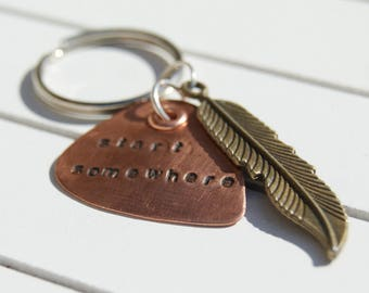 copper guitar pick/personalized key ring/bag charm/guitar pick/key chain/custom copper guitar pick