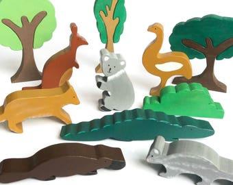 Australian animals set - waldorf wooden toys - kagaroo, koala, possum figures - eco friendly play