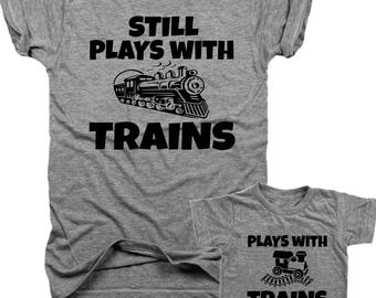 Plays with Trains, Still Plays with Trains 2-Pack T-shirt set, onesie, muscle, youth tee, infant tee, toddler eco tee  B038