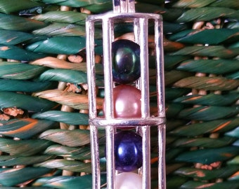 Sterling Silver Pearl Cage Pendant ~ Tube