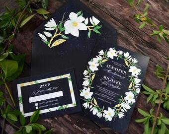 Printable Night Sky Wedding Invitation, Stars, Magnolia, Wedding Invitations, Floral, Gold, Watercolor Floral, Invitation Template