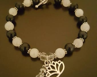 protection/enhancing high quality Rainbow Moonstone beaded bracelet with Lotus flower charm