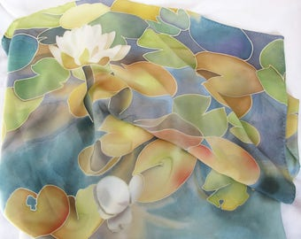 """Silk scarf """"Lily on the water"""""""