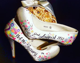 Hand Painted Wedding Shoes, Bridal Shoes, Painted Shoes